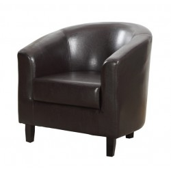 Stylish Tub Chair In Brown Faux Leather