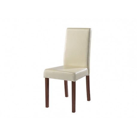 Brompton Cream Faux Leather Chair with Walnut Coloured Legs Pack of 2