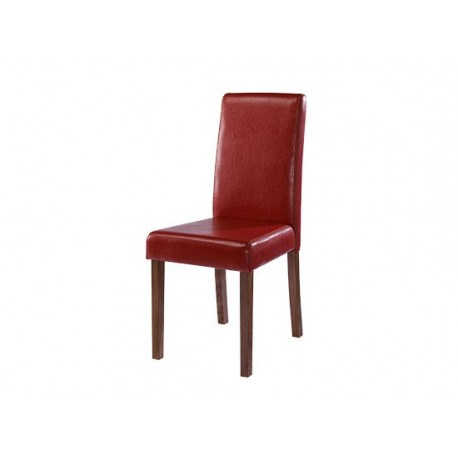 Brompton Red Faux Leather Chair with Walnut Coloured Legs Pack of 2