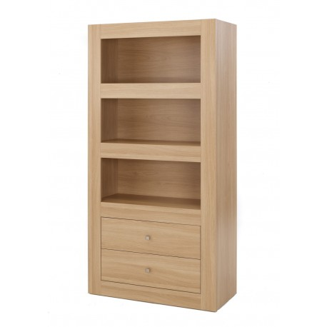 Moda 3 Teir Storage, 2 Drawers, Modern Style, L Shaped Joints, Oak Wood