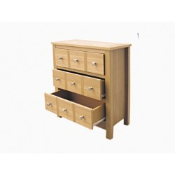 Oakridge Multi Drawer Chest, Real Ash Veneer With Oak Finish, Suits Any Style