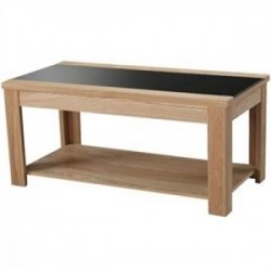 Ashleigh Coffee Table, Black Glass Centre Stip, Ash Veneers