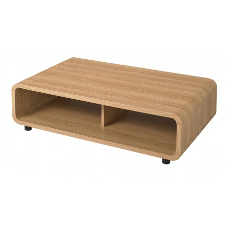 Curve Coffe Table, Distinctive Curved Corners, Oak Finish, Stylish Addition To Any Room
