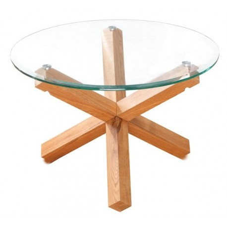 Oporto Coffee Table, Clear Bevelled Glass Top, Solid Oak Legs