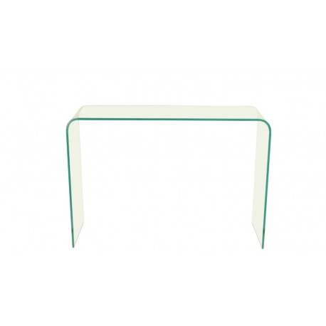 Azurro Glass Console Table, Gently Curved SIdes, Sleek and Contemporary