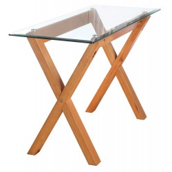 Cadiz Console Table, Solid Oak Legs, Metal Disc Fastening, Bevelled Edge Glass