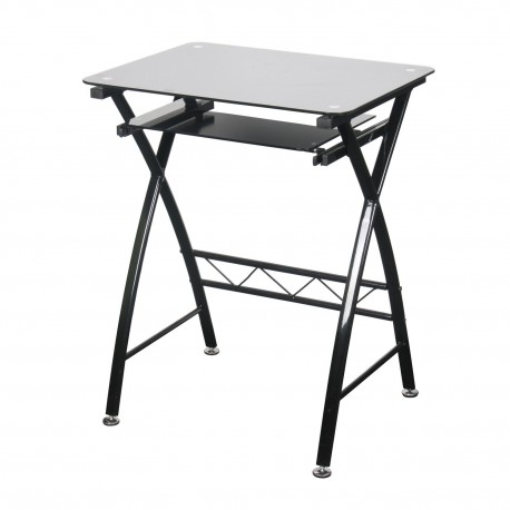 Chicago Computer Desk, Black Glass Top, Pull Out Shelf, Trendy Looking Style
