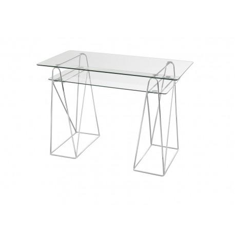 Fuse Office Desk, Glass top, Chrome Legs