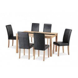 Ashleigh Dinning Set Large. 6 Black Leather Chairs, Black Glass Centre Strip