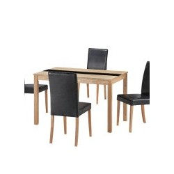 Ashleigh Dining Set Medium, 4 Black Faux Leather Chairs, Ash Veneers