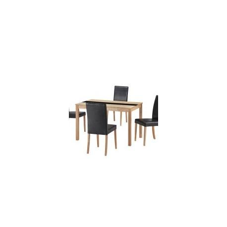 Ashleigh Dining Set Medium, 4 Black Faux Leather Chairs, Ash Veneers