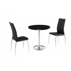 Athena Dinning Set, High Gloss Black, Chrome pedestal, 2 Black Faux Leather Chairs