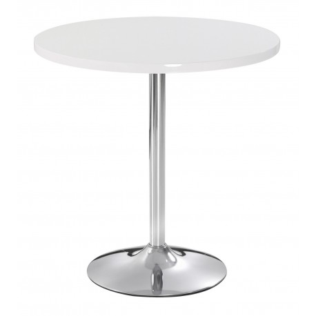 Athena Dinning Set, High Gloss White, Chrome pedestal, 2 White Faux Leather Chairs