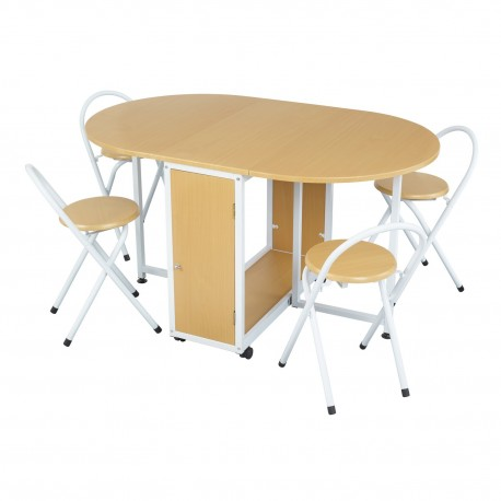 Butterfly Dining Set, Beech Effect, 4 Chairs, White Metal Frames, Space Saving