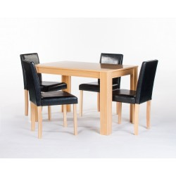Cambridge Dining Set, 4 Black Faux Leather Chairs, Attractive Oak Finish