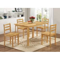 Derby Dining Set, 4 Solid Chairs, Oak Finish
