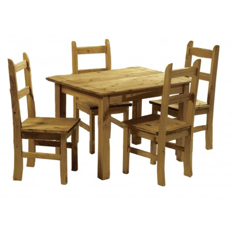 Ecudor Dining Set, 4 Chairs, Antique Waxed Finish, Mexican Pine