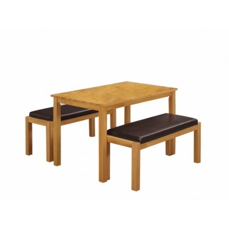 Fenton Dining Table + Bench, Brown PU Leather Seats, Effortless Look, Solid Rubberwood