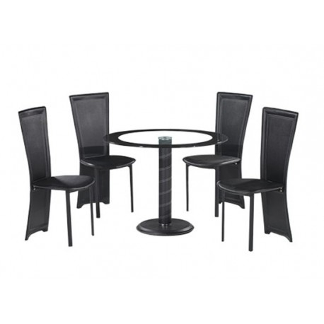 Lenora Circular Black Dining Set, 4 Black Faux Leather Chairs, Glass Top, Black Trim
