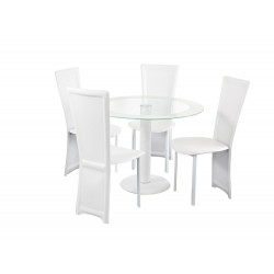 Lenora Circular White Dining Set, 4 White Faux Leather Chairs, Glass Top With White Trim