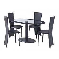 Lenora Black Oval Dining Set, 4 Black Faux Leather Chairs, Glass Top, Black Trim