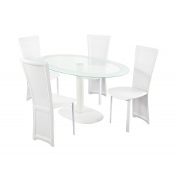 Lenora White Oval DIning Set, 4 White Faux Leather Chairs, Glass Top, White Trim