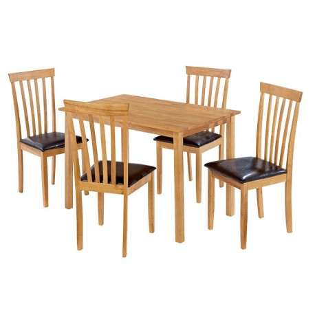 Newark Dining Set, 4 Oak Chairs With Brown Faux Leather Seat Pad, Natural Oak Finish,