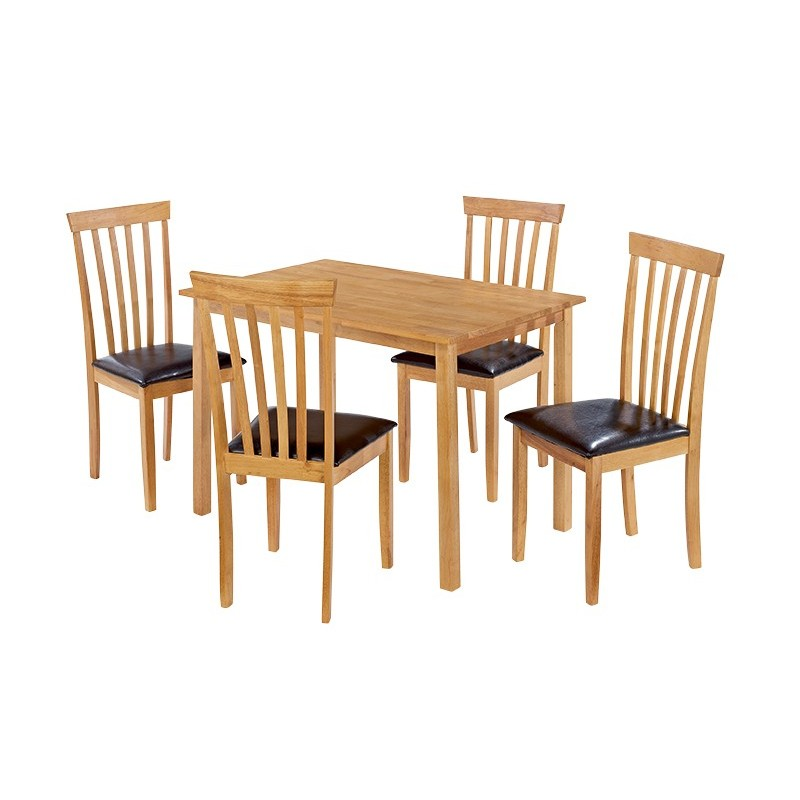 Super Newark Dining Set 4 Oak Chairs With Brown Faux Leather Seat Pad Natural Oak Finish Fimu Co Uk Beatyapartments Chair Design Images Beatyapartmentscom