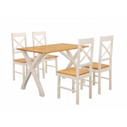 Normandy Dining Set, 4 Chairs, Clean Counrty Cottage Look, Painted White Finish