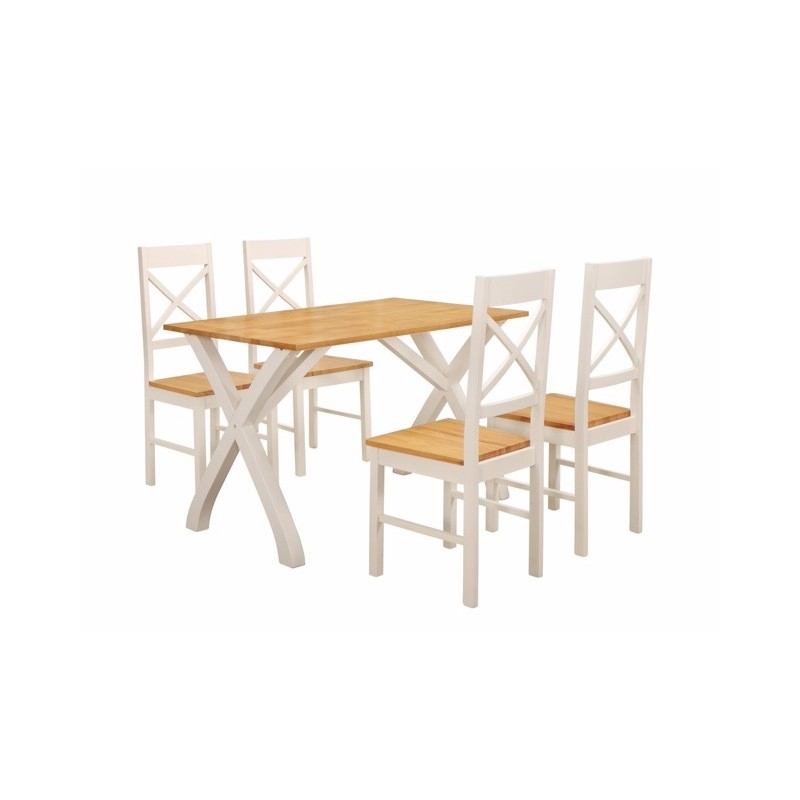 Enjoyable Normandy Dining Set 4 Chairs Clean Counrty Cottage Look Painted White Finish Fimu Co Uk Squirreltailoven Fun Painted Chair Ideas Images Squirreltailovenorg