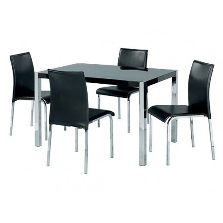 Novello Dining Set, 4 Black Faux Leather Chairs, Chrome Legs, High Gloss Black