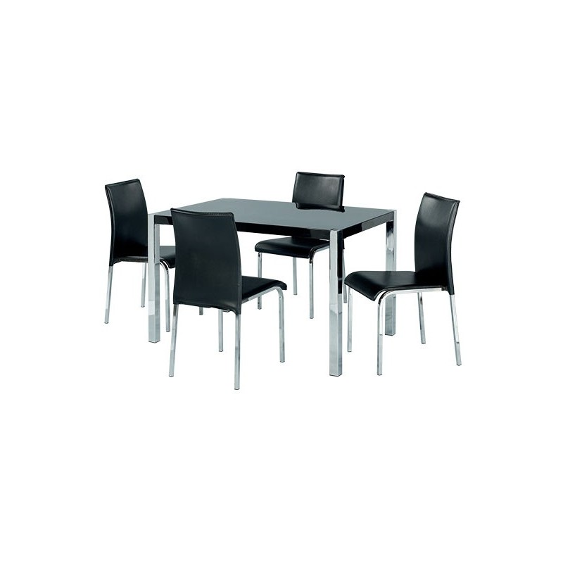 Novello Dining Set 4 Black Faux Leather Chairs Chrome Legs High