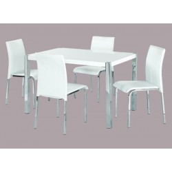 Novello Dining Set, 4 White Faux Leather Chairs, Chrome Legs, High Gloss White