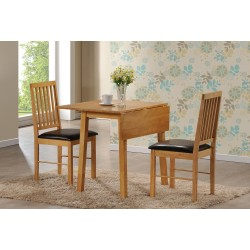 Palma Dining Set, 2 Chairs With Brown Faux Leather Seat Pads, Rubberwood, Oak Finish