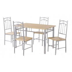 Paloma Dining Set, 4 Solid Chairs, Silver Finish