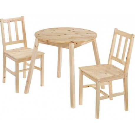 Prague Round Top Dining Set, 2 Chairs, Angled Legs, Knotty Pine Effect