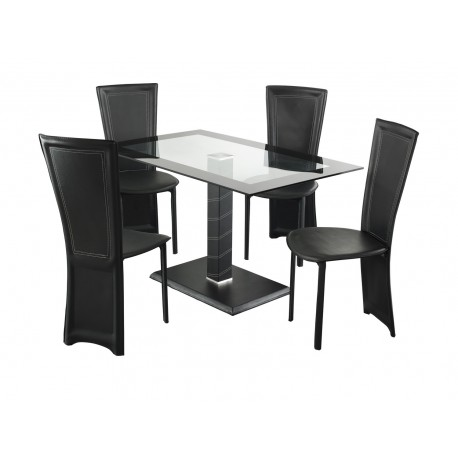 Lonora Dining Set Rectangle, 4 Black Faux Leather Chairs, Glass Table With Black Trim, Leather Look Pedstal