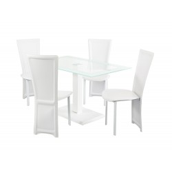 Lonora Dining Set Rectangle, 4 White Faux Leather Chairs, Glass Table With White Trim, Leather Look Pedstal