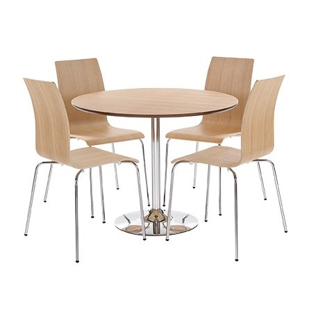 Soho Dining Set in Real Oak Vaneer Round Table and 4 Chairs