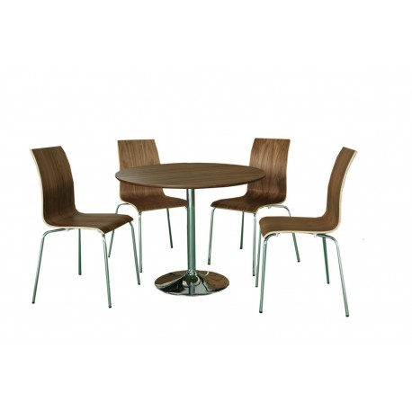 Soho Dining Set in Real Walnut Vaneer Round Table and 4 Chairs