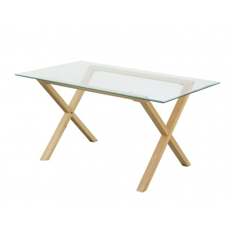 Cadiz Table Only, Solid Oak Legs, Metal Disc Fastening, Bevelled Edge Glass