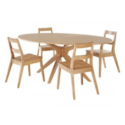 Malmo Dining Table, Starbust Pattern, Scandinavian Style, Solid Wood, White Oak Venners