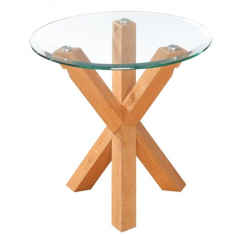 Oporto End/Lamp Table, Clear Bevelled Glass Top, Solid Oak Legs