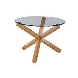 Oporto Large Round Table, Clear Bevelled Glass Top, Solid Oak Legs