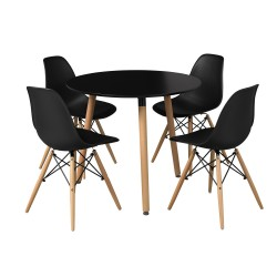 Orly Black Round Table, Tapered Angled Legs, Retro Style