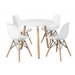 Orly White Round Table, Tapered Angled Legs, Retro Style