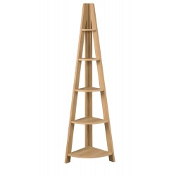 Tiva Corner Ladder Shelving Unit in Oak Finish