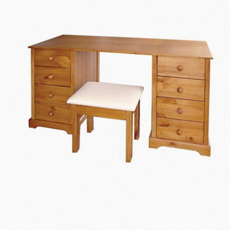 Baltic Dressing Table & Stool, 8 Drawers, Antique Pine Finish