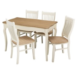 Juliette Dining Table, Shabby Chic Style, MDF And Pine Wood, Painted Finish