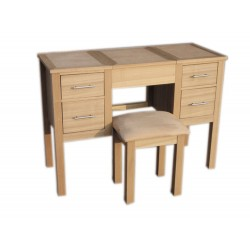 Oakridge Dressing Table & Stool, Includes Folding Mirror, Ash Veneer, Oak Finish
